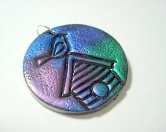 Magic Shine On My Birdhouse Handmade Polymer Clay Pendant