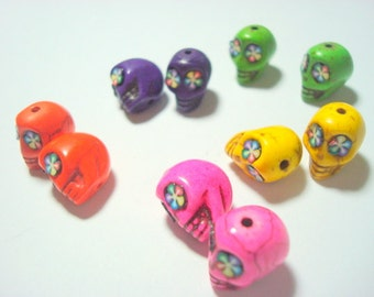 Bright Rainbow Flower Howlite Skull 12mm Beads-Variety of Five Pairs