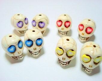 Heart Eyes Howlite Sugar Skull 18mm Beads-Variety of Four Pairs