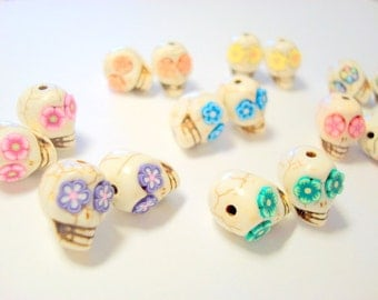 Sugar Skull Beads Day of the Dead Beads-Variety of Eight Pairs for Earrings