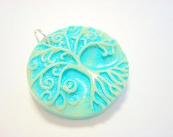 Faux Ceramic Light Turquoise Yggdrasil Tree of Life With Roots Handmade Polymer Clay Pendant or Focal Bead
