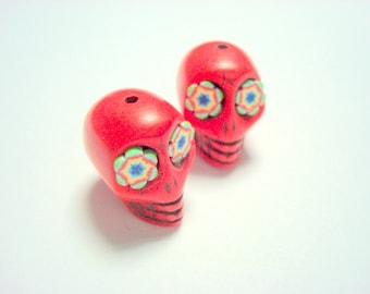Funky Flowers in Bright Red Howlite Sugar Skull Beads