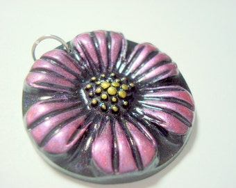 Pink Daisy Handmade Polymer Clay Pendant