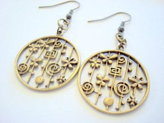 Antiqued Brass Fun Spring Earrings