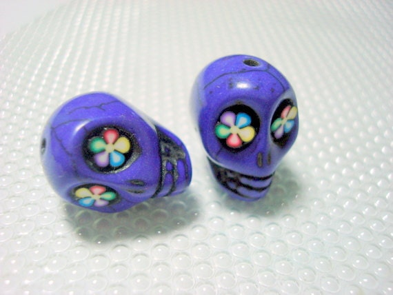 Bright Color Flower Eyes Grape Purple Howlite Skull Beads