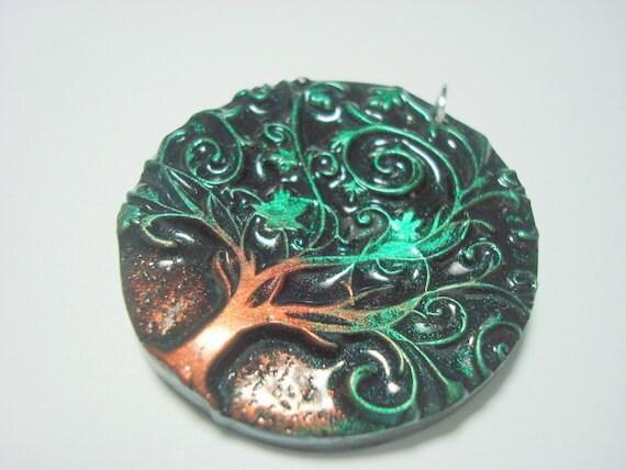 Twirly Green Tree of Life Handmade Polymer Clay Pendant