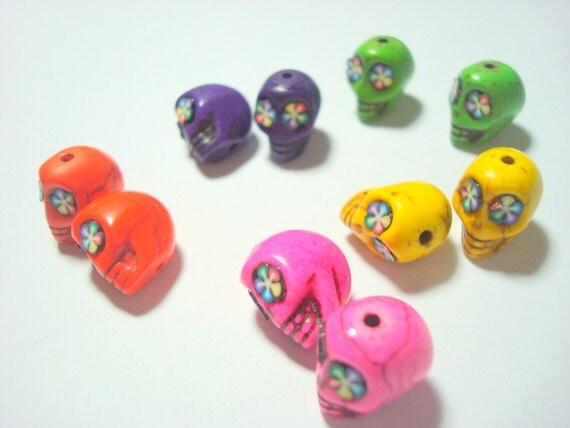 Bright Rainbow Flower Howlite Skull 12mm Beads-Variety of Five Pairs