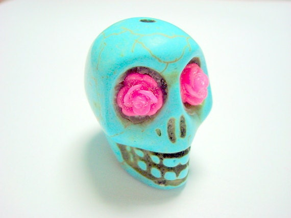Gigantic Turquoise Howlite Skull Bead or Pendant  with Pink Roses in Eyes