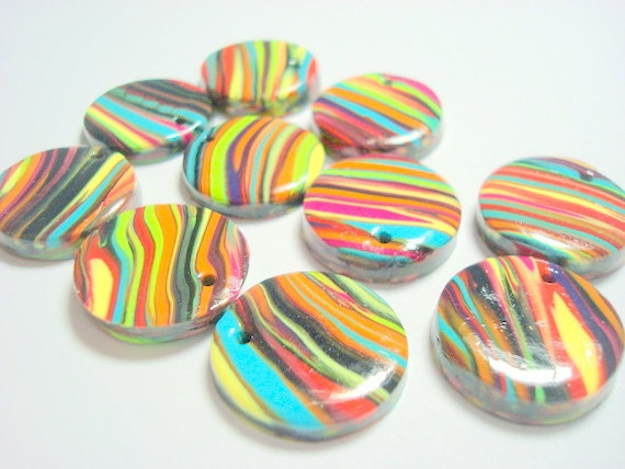 Top Drilled 20 mm Black and Bright Rainbow Stripes Polymer Clay Disk Beads
