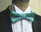Bow Tie and Pocket Square - Tiffany Blue Satin, pre tied bowtie, groom, groomsmen, wedding men's accessory, prom, formalwwear, black tie