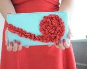 The Kimberly Clutch - Aqua Blue and Cherry Red, bridal wedding purse, bridesmaids ruffle clutch, formal purse