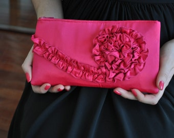 Clutch - The Kimberly Clutch - Dark Honeysuckle Pink Satin, Bridal Purse, Wedding Bag, Bridesmaids Ruffle Clutch, Formal Evening Wear Purse