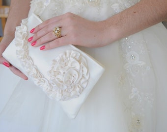 Ivory Bridal Clutch - The Kimberly Clutch in Satin, Wedding Ruffle Purse, Bridal Bride Bag, Ivory Ruffle Clutch