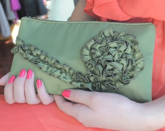 Olive Green Bridesmaids Clutch - The Kimberly Clutch in Satin, wedding ruffle purse, bride bag, prom clutch