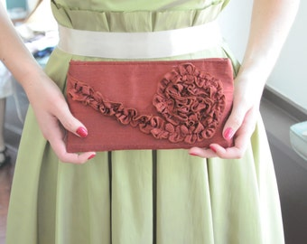 Clutch - The Kimberly Clutch in rust orange silk dupioni,   Bridesmaids ruffle bag, Formal Evening Wear Purse