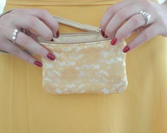 Lace Wristlet -  Gold Lace, Bridesmaids Wristlet Purse,  Wedding Lace Bag, small, strap
