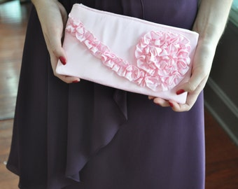 Clutch -  peppermint pink satin, Wedding Bridal Bag, Bridesmaids Ruffle Purse, Prom Pink Clutch, formal bag, black tie event accessory