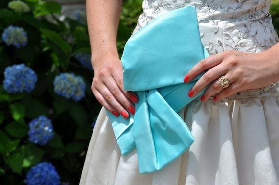 Aquamarine Blue Bridal Clutch - The Christine Clutch, Bride Bag, Bridal Purse, Bridesmaids big bow clutch in  aqua blue satin