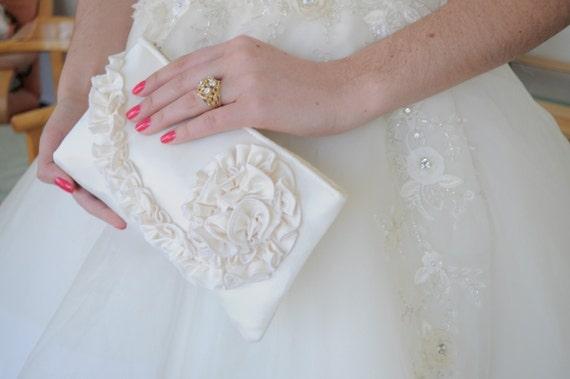 Ivory Bridal Clutch - The Kimberly Clutch in Satin, Wedding Ruffle Purse, Bridal Bride Bag, Ivory Ruffle Clutch