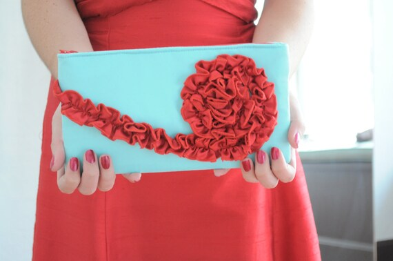 Custom Listing Reserved for girltalkbc - The Kimberly Clutch in red and blue
