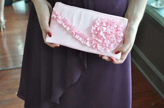 Clutch -  peppermint pink satin, Wedding Bridal Bag, Bridesmaids Ruffle Purse, Prom Pink Clutch, formal bag, black tie event accessory