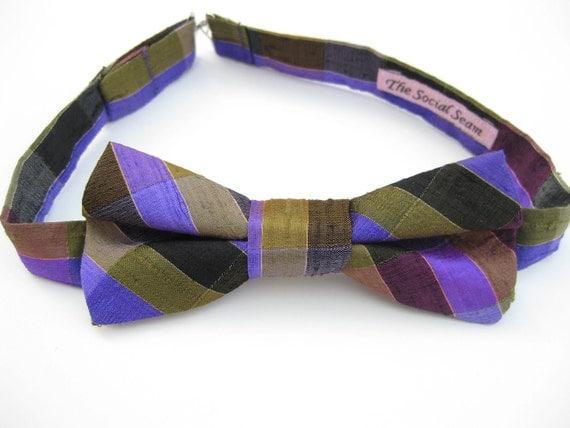 Purple Plaid Bow Tie, plaid silk, men's formalwear, pre tied groom groomsmens bow tie, wedding men accessory