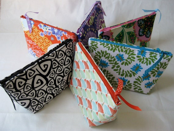 Reserved for Lissa -- Bridesmaids Gift Set of 9 cosmetic/make up bags, thank you gifts, zippered pouches