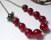 Red  Necklace,  Glass Pearl Necklace