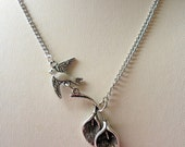 Calla Lily  Necklace with a Bird