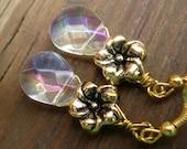 Gold Flower Earrings White Drop Earrings