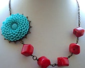 Red Coral Necklace Blue Flower