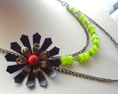 Black Flower Necklace, Green Necklace Red Green Asymmetrical  Statement Necklace