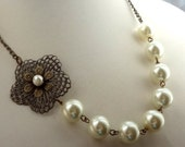 Ivory Necklace,Wedding Jewelry ,Bridesmaid Necklace, Off white Necklace