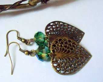 Leaf Earrings with AB Green Crystal, Crystal Earrings, Green Earrings, Fan Earrings, Dangle Earrings