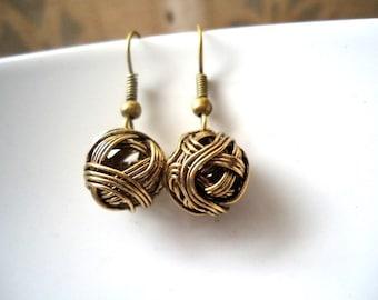 Antique Gold Wire Ball Earrings,Wire Ball earrings, Dangle Earrings