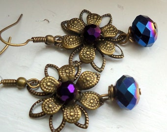 Flower Earrings  Filigree Earrings Autumn Jewelry, Flower jewelry, Brides Maid Jewelry