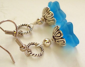 Blue Earrings, Flower Earrings, Bridesmaid Gift, Dangle Earrings, Blue Flower Earrings