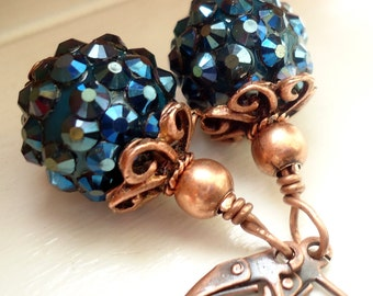 Sparkly Blue Earrings,   Rhinestone Ball Earrings, Blue Earrings