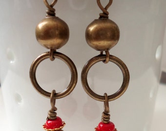 Red Earrings, Brass Earrings, Dangle Earrings SALE
