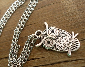 Owl Necklace, Owl Charm Necklace, Owl Pendant Necklace Silver Owl Necklace SALE