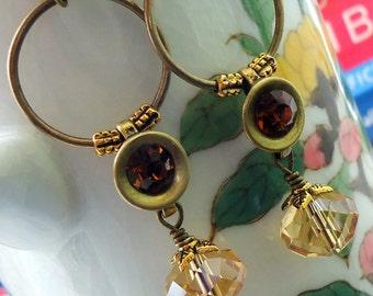Hoop Earrings Champagne Earrings, Crystal earrings, Dangle Earrings, Long Earrings