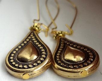 Gold Earrings Vintage Style Gold Drop Earrings Gold Dangle Earrings Teardrop Earrings Boho Earrings