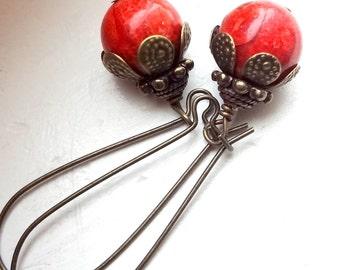 Red Jasper Earrings, Red Earrings