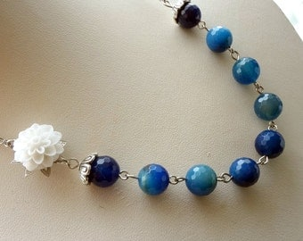 Blue Agate Necklace, Deep Blue Stone, White Flower Necklace, Blue Necklace