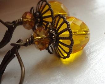 Amber Earrings, Orange Shaded Earrings, Crystal Earrings, Leverback, Yellow Earrings