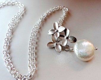 Pearl Necklace, Coin Pearl Necklace, Silver Flower Necklace, Bridesmaid Necklace, Wedding Jewelry
