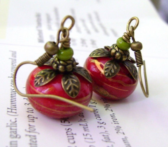 Red Earrings Rondelle  Earrings