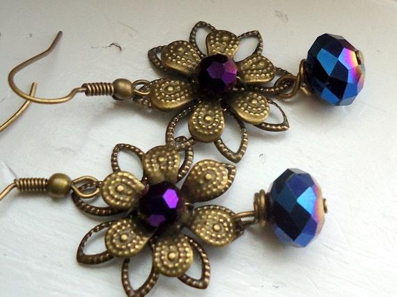 Flower Earrings  Filigree Earrings Autumn Jewelry