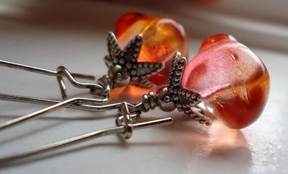 Amber Earrings, Golden  Glass Nugget Earrings