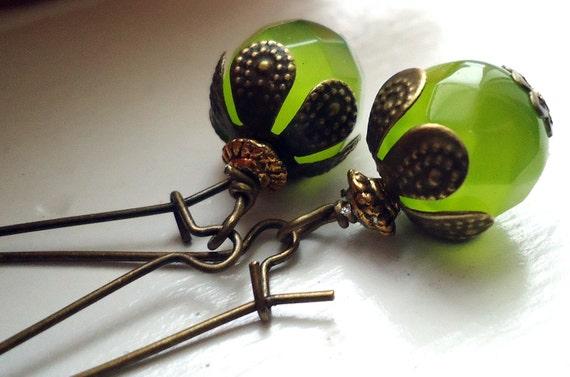 Green Earrings, Dangle Earrings